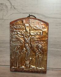 Vintage Religious Metal/wood Wall Hanging Plaque Jesus Christ Crucifixion