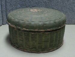Antique Sewing Basket Old Salmon Pink And Green Paint