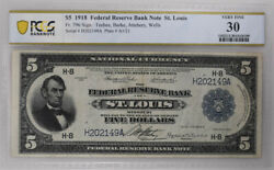 1918 5 Federal Reserve Bank Note St. Louis Pcgs Fr796 Vf30