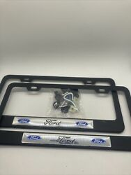 2x Ford Black Metal License Plate Frame 2 Pieces Ford With Caps And Screws