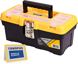Canopus Plastic Toolbox 13-inch Portable Tool Box With Metalic Clutch Tool Org