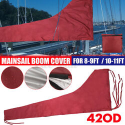 Premium Quality 8-9ft/10-11ft Sail Cover Boat Yacht Boom Mainsail Cover Burgundy