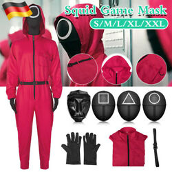 Squid Game Rot Costume Mit Belt Handschuhe Cosplay Party Overall Maske Halloween