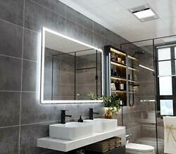 Petushouse 55x36 Inch Led Backlit Bathroom Mirror Wall-mounted Vanity Mirrors...