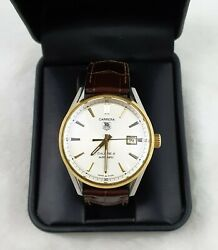 Tag Heuer War215b-2 Carrera Calibre 5 Watch Gold 39mm Tag Leather Band