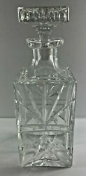 Vintage 9.75 In Heavy Cut Square Glass Liquor Whiskey Decanter With Stopper