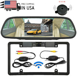 Iposter Radar Sensor License Plate Backup Camera Wireless + 5and039and039 Monitor System