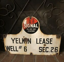 Signal Gas And Oil Company Oil Lease Porcelain Sign 14andrdquo X 21andrdquo