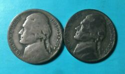 1943-p 1944-p War Nickels Jefferson Nickels Lot Of 2 35 Silver Content
