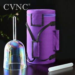 Cvnc 6f Heart Chakra Clear Handle Crystal Singing Bowl Carrying Case Set