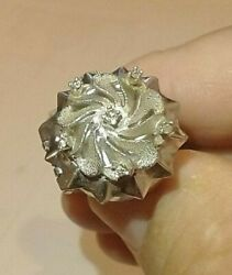 Ring Watch Antique White Gold Real Diamonds German Voltaire Size 6.5 Ring