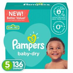 Pampers Baby-dry Extra Protection Diapers Size 5 136 Count