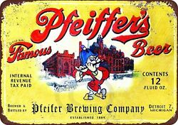 Pfeiffer's Beer Brewing Company Rustic Retro Tin Metal Sign 8 X 12