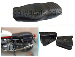 Royal Enfield Interceptor And Gt 650 Leather Comfortable Dual Seat And Pannier Bag