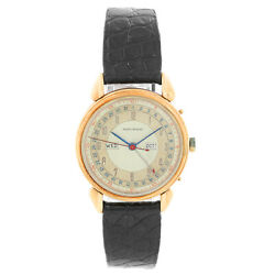 Vintage Movado 14k Gold Day-date-month Menand039s Manual Winding Watch Item 58118