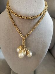 Vintage Gold Tone Chain Lariat Necklace Faux Pearl Tassels