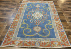 6and039x9and039 Blue Handmade Zero Pile Overdye Tabrizz Distressed Flat Weave Oriental Rug