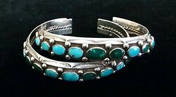 Matching Pair Of Native American Turquoise And Sterling Cuff Bracelets Vintage