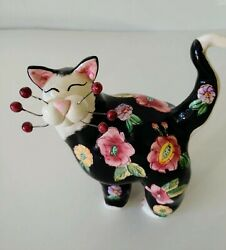 2002 Whimsical Black Cat With Floral Body Art By Amy Lacombe
