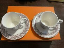 Hermes Les Maisons Enchantees Pair Cappuccino Cup And Saucer Set Auth From Japan
