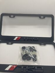 3d 2x Set Toyota Trd Black License Plate Frame Black Metal With Caps And Screws