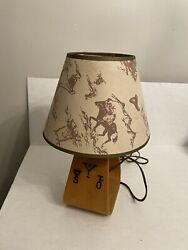 Vintage Western Stirrup Lamp With Brands And Clip-on Cowboy Western Shade