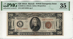 1934 A 20 Federal Reserve Note Hawaii Wwii Emergency Issue Fr.2305 Pmg Ch Vf 35