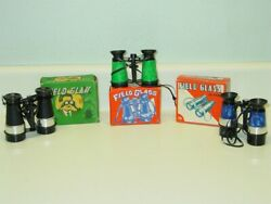 Vintage 3 Field Glass With Compass In Original Boxes, Toy Binoculars, Shaland