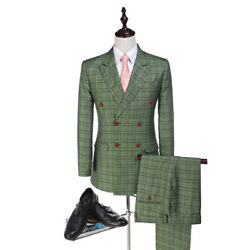 Green Check Man Suits Double Breasted Groom Tuxedos Glen Plaid Groomsman Suit