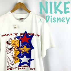 Vtg 90s Disney Mickey Mouse Unused With Tag Tee T Shirt L White Nike Silver Tag