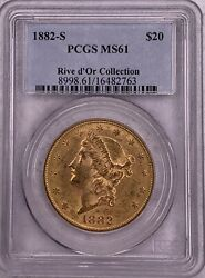 1882-s Rive D'or Collection Double Eagle Pcgs Ms61 20 Liberty Head