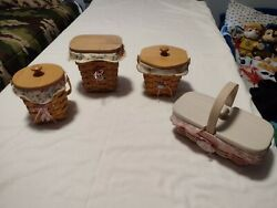 Longaberger Baskets Set Of 4 With Cloths And Liners.