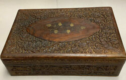Vintage Carved Wooden Box India Brass Inlay 12 Flowers