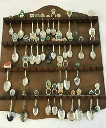 Collection Of 38 Collectible Souvenir Spoons With Wooden Display Rack
