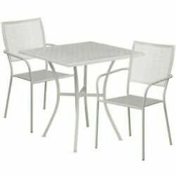 Patio Table Set Indoor / Outdoor Steel With 2 Square Back Chairs Light Gray