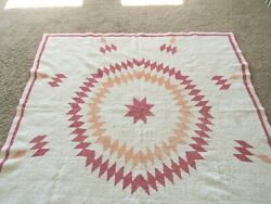 Vintage Antique Quilt Star And Diamond Pattern 66 X 70 Inches