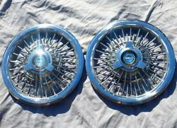 Pair Of Factory Ford Wire Wheel Covers W/ Spinners 15 Inch Rims Hubcaps Mercury