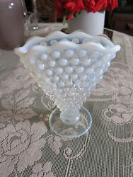 Fenton French Opalescent Hobnail Depression Glass Fan Vase 6 In Tall