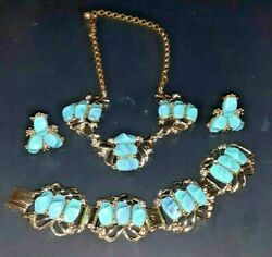 Vintage Gold Tone With Faux Turquoise Necklace Clip On Earring And Bracelet Set