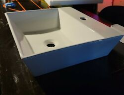 Undermount Bathroom Sink - White With Waterfall Faucet.