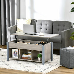 Lift Top Coffee Table Center Table W/ Storage Compartment And Shelf Grey