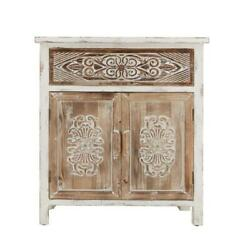 Weathered Wood Cabinet With 1 Drawer And 2 Doors Vintage Accent Storage Chest