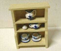 Vintage Doll House Wood Kitchen Hutch With Blue Delft Porcelain Dishes