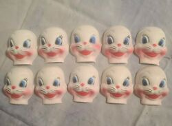 Vintage Celluloid Plastic Bunny Faces Craft Animal Doll Making Lot Of 10