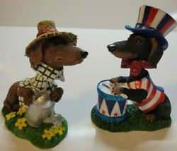 Darling Dachshund Bobble Head Pawtriotic And Garden Pawty 2.5 Long New Mbi