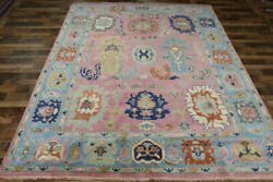 9and039x12and039 New Pink Turkish Oushak Hand Knotted Wool Oriental Transitional Area Rug