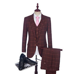 Red Check Man Suits Plaid Terno Wedding Suit Groom Tuxedos Tailored Suit Blazer