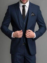 Navy Blue Wedding Suits Custom Made Man Suits 3 Piece Suits Mens Groom Tuxedos