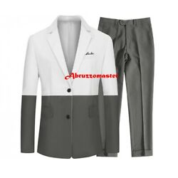 New Design Spell Color Man Suit Dinner Suit Grey And White Wedding Suit Groom