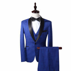 New Royal Blue Best Man Suits Peak Lapel Groomsmen One Buttons Groom Tuxedos